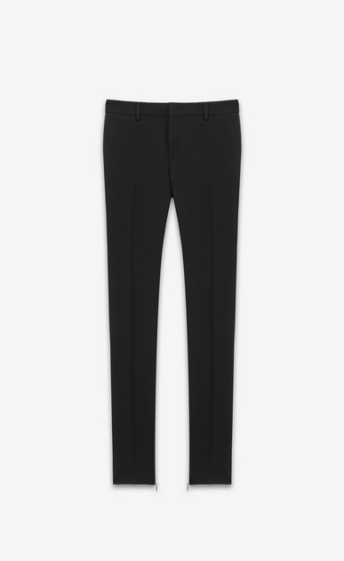 SAINT LAURENT Classic Pant Woman signature low waisted skinny trouser in black wool gabardine a_V4