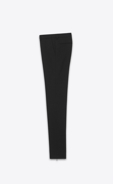 SAINT LAURENT Classic Pant Woman signature low waisted skinny trouser in black wool gabardine b_V4