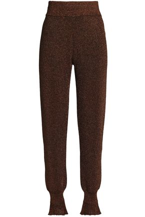 LANVIN Metallic stretch-knit tapered pants