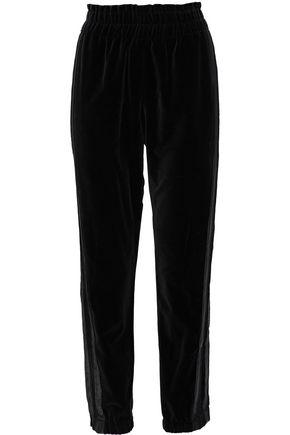 SONIA RYKIEL Cropped satin-trimmed cotton-velvet track pants