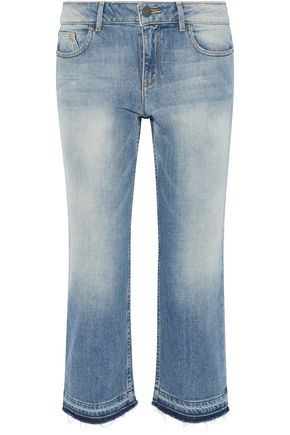 ALICE+OLIVIA Tasha cropped faded mid-rise straight-leg jeans