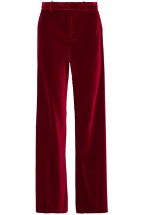 ALICE + OLIVIA Paulette satin-trimmed velvet wide-leg pants