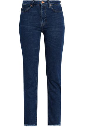 M.I.H JEANS Frayed mid-rise slim-leg jeans