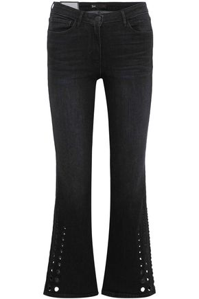 3x1 Lucca mid-rise laser-cut kick-flare jeans