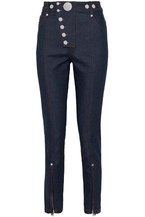 ALEXANDER WANG Button-detailed cotton-blend skinny pants