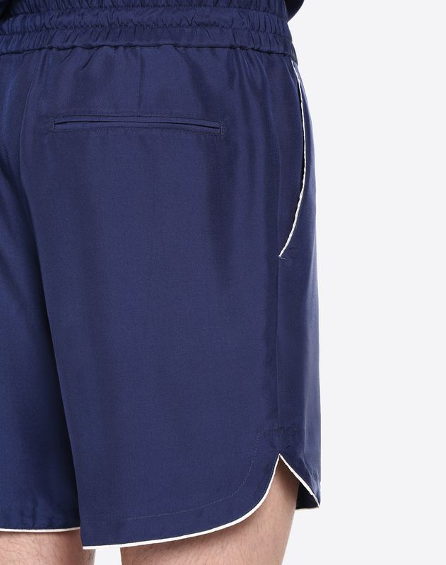 Silk Bermuda shorts with piping detail