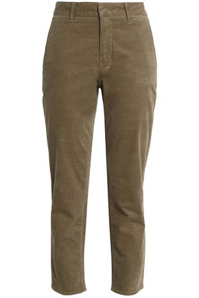 VINCE. Cropped cotton-blend corduroy slim-leg pants