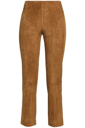 VINCE. Cropped suede slim-leg pants