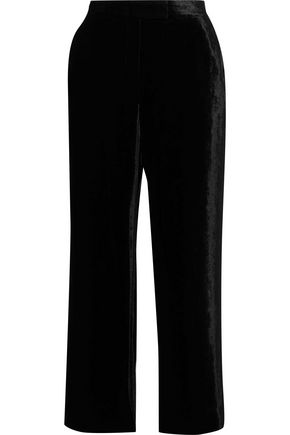 A.L.C. Cropped crushed-velvet wide-leg pants