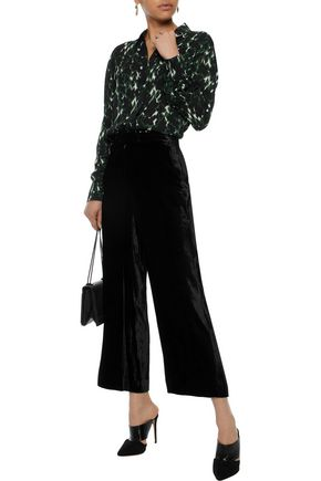 A.L.C. Cropped crushed-velvet wide-leg pants