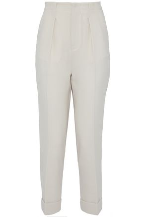 ROLAND MOURET Horley cropped pleated wool-crepe tapered pants