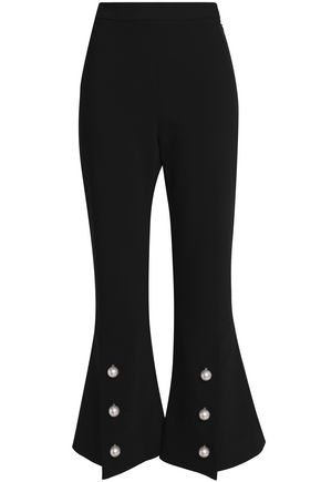 ELLERY Faux pearl-embellished woven flared pants