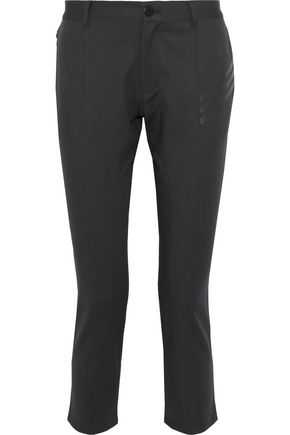 Y-3 + adidas cropped appliquéd stretch cotton-ponte skinny pants