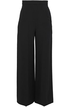 ROLAND MOURET Cropped wool-crepe wide-leg pants