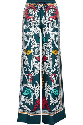 MARY KATRANTZOU Tarot printed silk-twill wide-leg pants