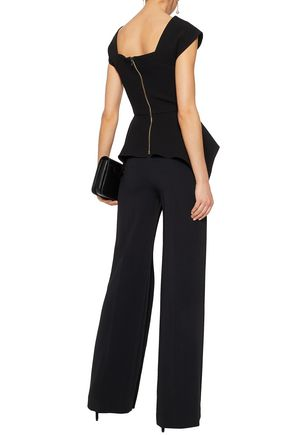 ROLAND MOURET Coveney layered stretch-crepe flared pants