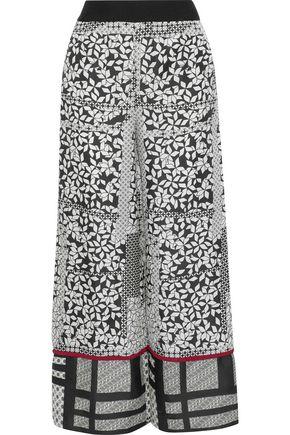 ROLAND MOURET Samuel crepe-trimmed printed silk-twill wide-leg pants