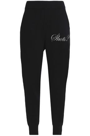 ALEXANDER WANG Intarsia-trimmed wool and cashmere-blend tapered pants