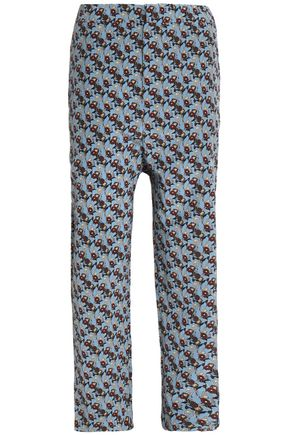 MARNI Cropped floral-print silk straight-leg pants