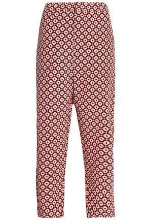 MARNI Cropped printed silk straight-leg pants