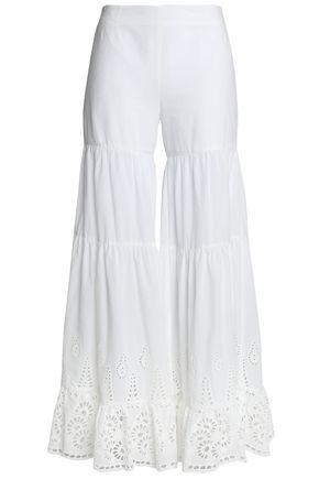 GOEN.J Broderie anglaise cotton wide-leg pants