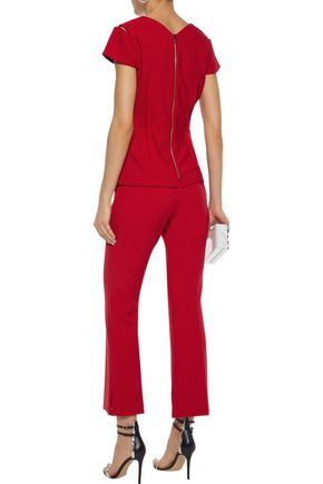 ROLAND MOURET Goswell cropped stretch-crepe flared pants