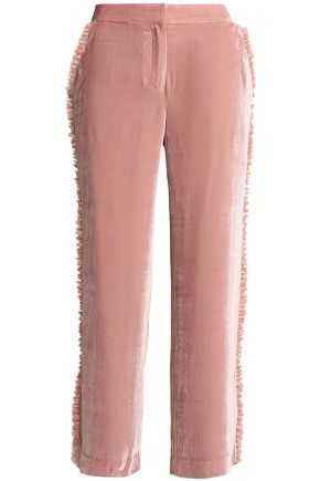 CINQ À SEPT Zoma ruffle-trimmed velvet straight-leg pants