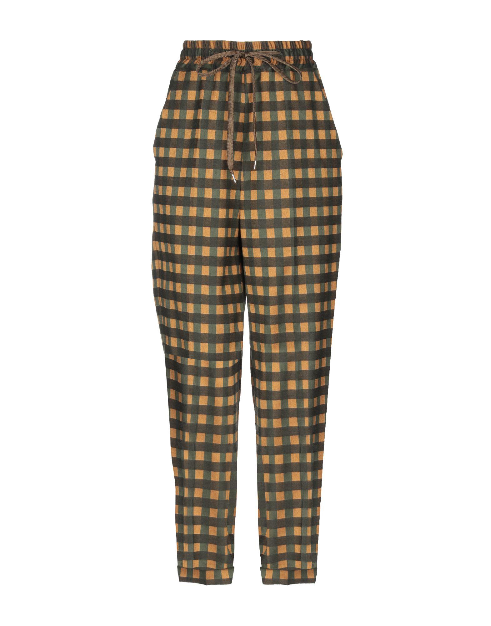 ALYSI Повседневные брюки брюки широкие с принтом в клетку виши