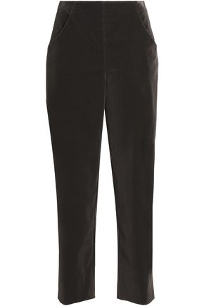 VANESSA SEWARD Cropped velvet straight-leg pants