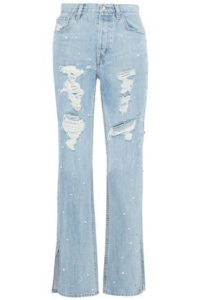 JONATHAN SIMKHAI Embellished distressed high-rise straight-leg jeans