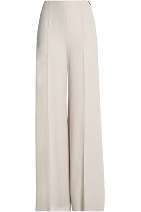 ROLAND MOURET Pleated jacquard-crepe wide-leg pants