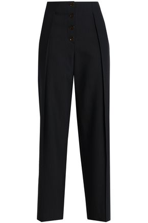 PRINGLE OF SCOTLAND Wool and silk-blend crepe wide-leg pants