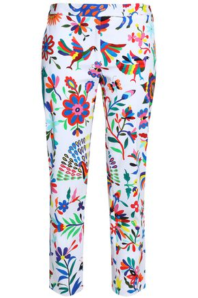 MILLY Printed cotton-blend twill tapered pants