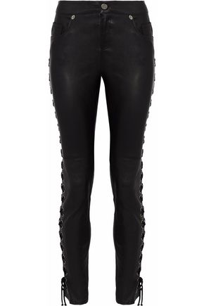 HAUTE HIPPIE Lace-up leather skinny pants