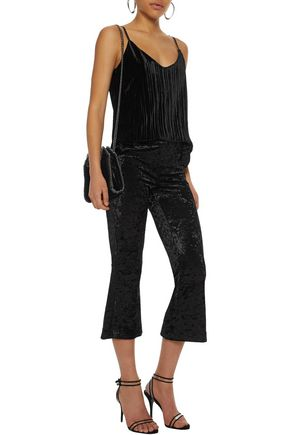 BAILEY 44 PG13 crushed-velvet kick-flare pants