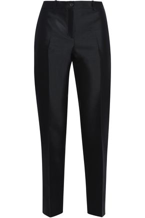 MICHAEL KORS COLLECTION Cropped wool and silk-blend twill slim-leg pants