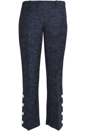 MICHAEL KORS COLLECTION Cropped button-detailed marled wool bootcut pants