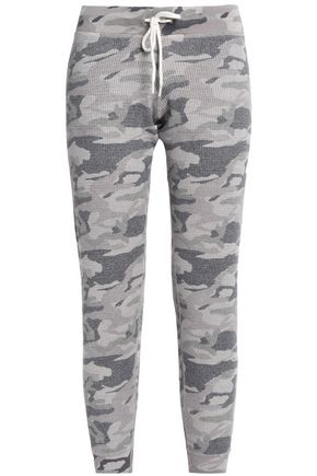MONROW Cropped printed jersey track pants