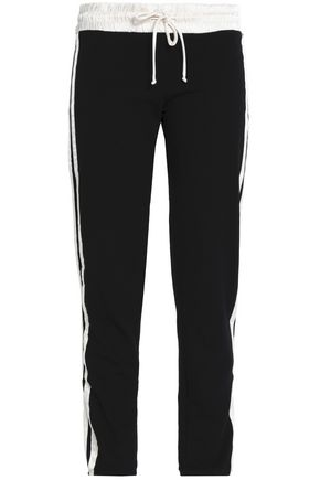 MONROW Cropped satin-trimmed jersey track pants