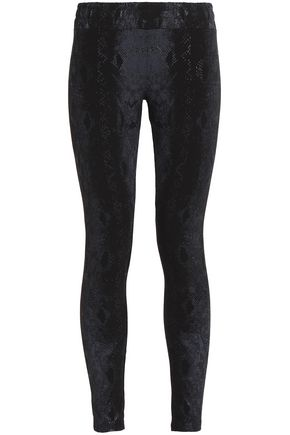 MONROW Printed stretch-cotton leggings