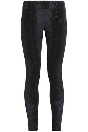 MONROW Printed stretch-cotton leggings