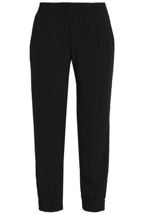 MONROW Cropped crepe slim-leg pants