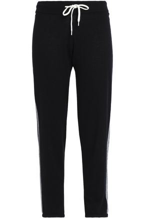 MONROW Intarsia wool and cotton-blend track pants