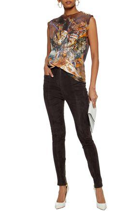 BALMAIN Suede skinny pants