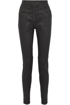 BALMAIN Coated cotton-blend twill skinny pants