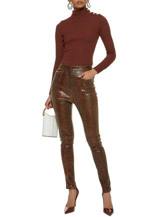 BALMAIN Snake-effect leather skinny pants