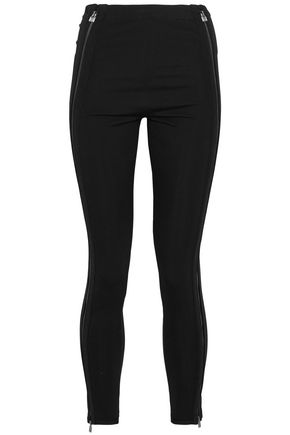 HERVÉ LÉGER Zip-detailed stretch-ponte skinny pants
