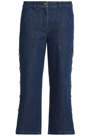 MICHAEL KORS COLLECTION Cropped button-detailed high-rise straight-leg jeans