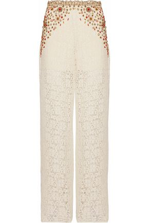 HAUTE HIPPIE Embellished crocheted cotton-blend wide-leg pants