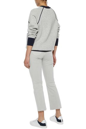 J BRAND Selena cropped distressed mid-rise bootcut jeans